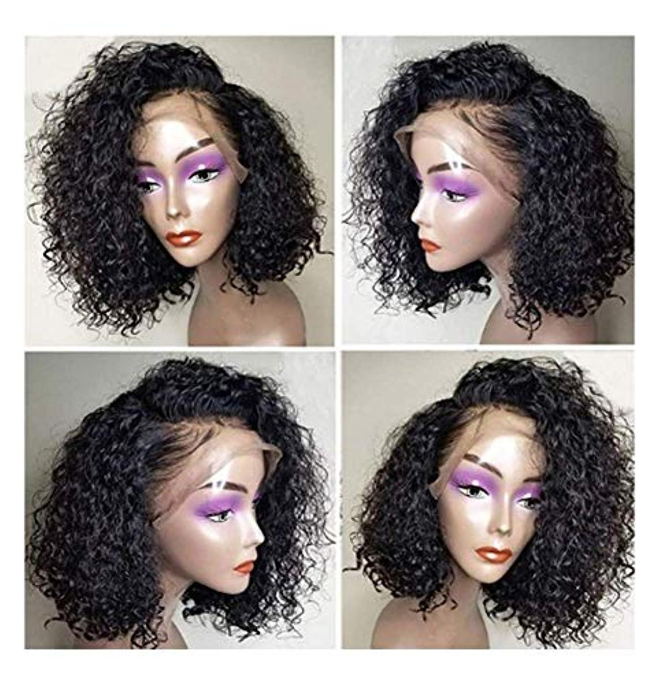 ブースト錫日光女性のフルヘッド合成レースフロントウィッグ、コスプレパーティーデイリードレスヘアピース用14 ''ナチュラルブラックショートヘア