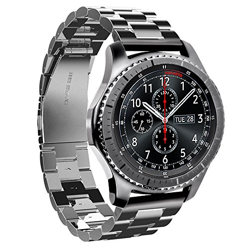 HOCO Gear S3 バンドPinhen Gear S3 ステンレス鋼バンド 用時計バンドミラネーゼループバンド 22mmベルド 腕時計バンド対応Samsung Gear S3 Frontier / Classic (Black)