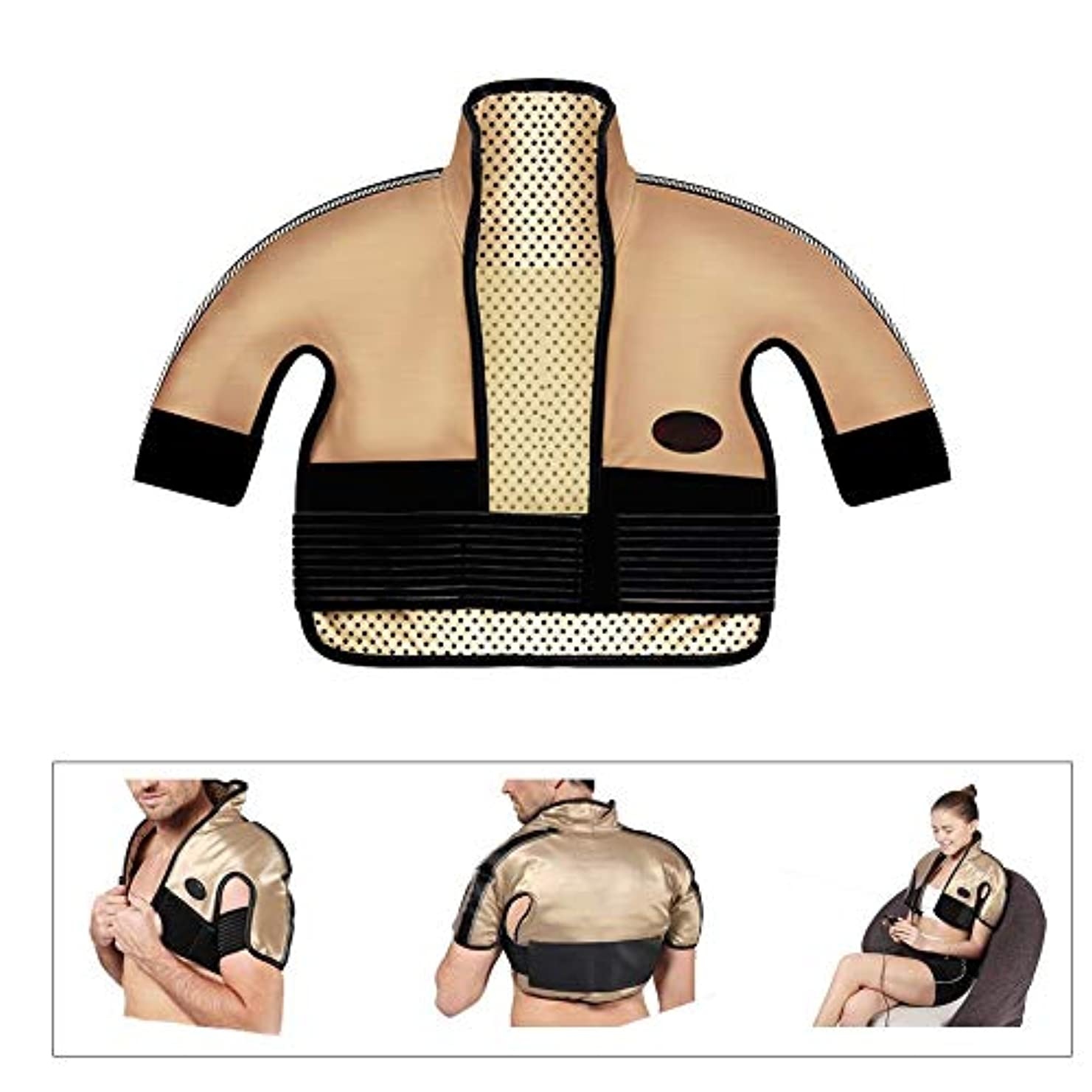 女の子モーションゴールド肩と首の電気加熱パッド - 混練加熱、痛み緩和加熱パッドを叩く、医療用品マッサージベスト(肩幅用:40-65CM)