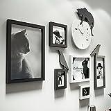写真の壁のベッドと朝食のレストランの写真の壁の時計の装飾の写真のフレーム猫の組み合わせの写真のフレームの壁5インチ10インチ14インチ (Color : Blue and white)