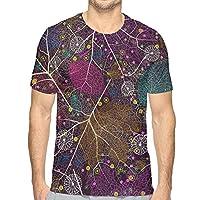 アブストラクトの葉Tシャツ 半袖 メンズ 丸首 今季最新 量軽 爽快 3Dプリント 薄手 吸汗速乾 ファッション おしゃれ