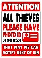 すべての泥棒に注意 金属板ブリキ看板注意サイン情報サイン金属安全サイン警告サイン表示パネル