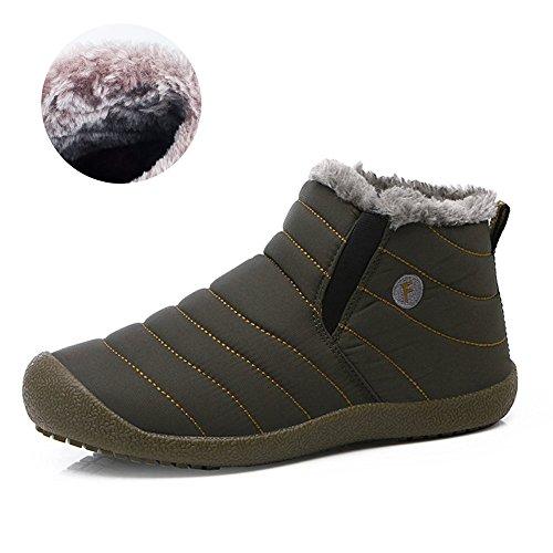 (Isome)スノーブーツ 防水 防寒 防滑 ブーツ 保温 メンズ 靴 レディース 雪靴 オリーブ 23.5cm