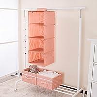 Sivin 4段 吊り下げ 衣類ラッ(引き出しボックス *2 付け) クローゼット 収納 棚 布製 セーター 収納 オーガナイザー スペースの有効活用 (ドットピック)