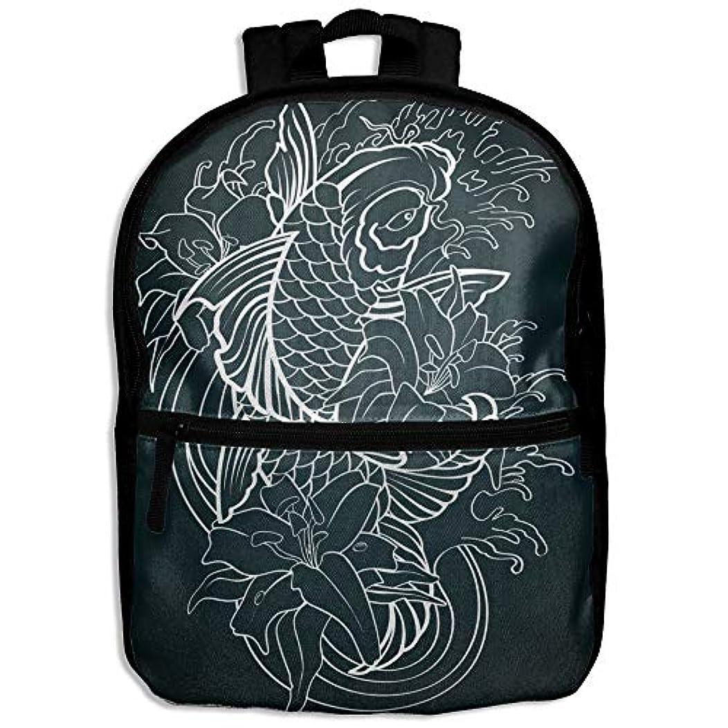 会員締め切りさようならキッズバッグ キッズ リュックサック バックパック 子供用のバッグ 学生 リュックサック 鯉 魚柄 アウトドア 通学 ハイキング 遠足