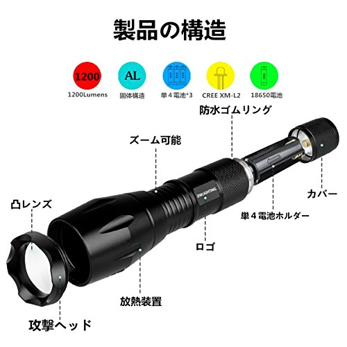 CREE XM-L2 懐中電灯 led 強力 軍用 最強 超高輝度 L2 ライト採用 1200ルーメン 5モード 防水仕様 対応電池18650電池1本或は単4電池3本(電池付属なし)