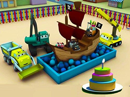 建設チーム: ダンプトラック、クレーン車とショベルカーがカーシティーにケーキマシーン&海賊船を建てる