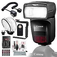 Canonスピードライト470ex-aiフラッシュディフューザー付き、電池&充電器キット、Xpixクリーニングアクセサリー、基本的な写真バンドル
