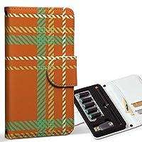 スマコレ ploom TECH プルームテック 専用 レザーケース 手帳型 タバコ ケース カバー 合皮 ケース カバー 収納 プルームケース デザイン 革 チェック・ボーダー チェック 緑 オレンジ 004038