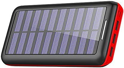 KEDRON  モバイルバッテリー ソーラーチャージャー 24000mAh 大容量 電源充電可能 急速充電 2USB入力ポート(2.1A+2.1A) 3USB出力ポート(2.4A+2.4A+2.4A) 太陽光で充電でき Android/Apple/iPad等に対応 災害/旅行/アウトドアに大活躍 (red)