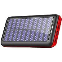 KEDRON モバイルバッテリー 24000mAh 大容量 電源充電可能 急速充電 2USB入力ポート(2.1A+2.1A) 3USB出力ポート(2.4A+2.4A+2.4A) 太陽光で充電でき Android/Apple/iPad等に対応 災害/旅行/アウトドアに大活躍 (red)
