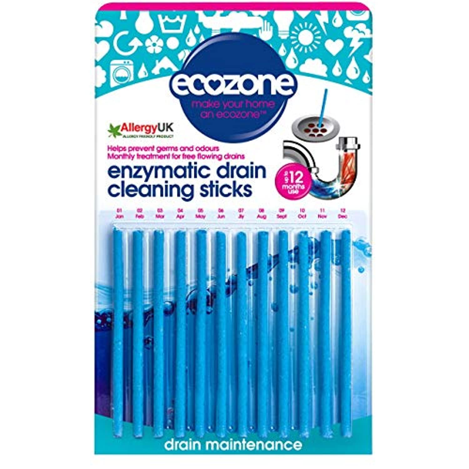 Ecozone Enzymatic Drain Sticks - Helps to Prevent Blockages Forming - 1 Year of Protection Per Packet by Ecozone
