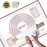 Large Silicone Pastry Baking Mat (40x60cm), TERSELY Non-Stick Reusable Rolling Pastry Mat Cookie Dough Mat with Measuring Guide for Kitchen (Red)