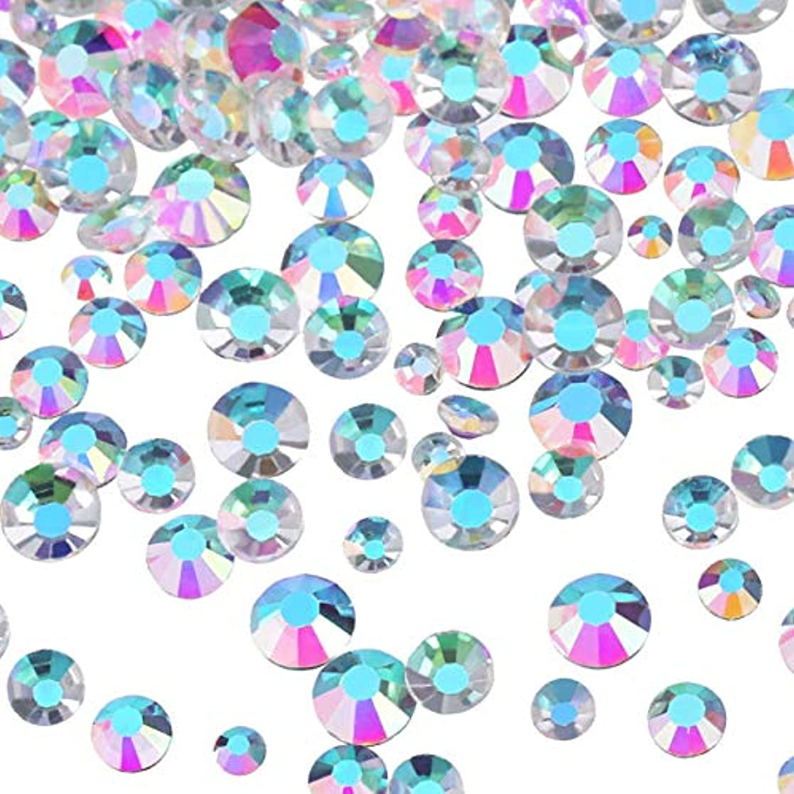コントロール興奮する拍車Mojoe 3456個ネイルABクリアネイルアートラインストーンラウンドバックガラスチャーム宝石石、6サイズネイル用装飾化粧服靴(、混合Ss4 5 6 8 10 12)(ABクリア)