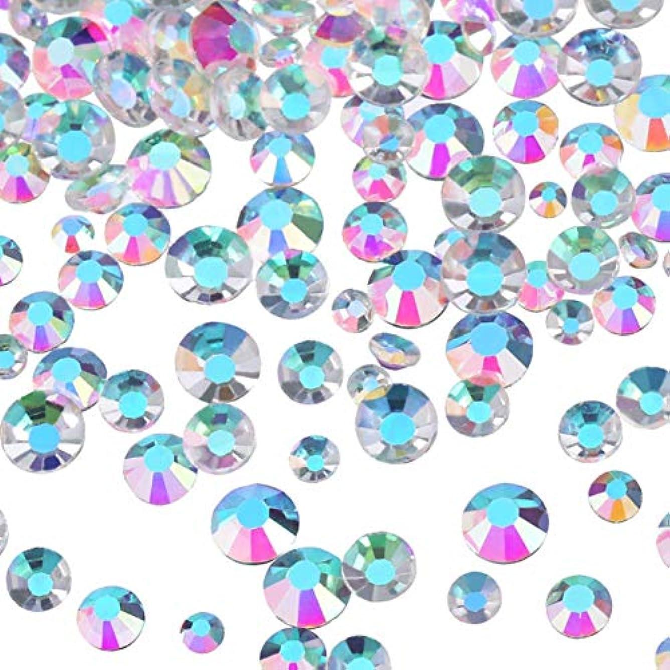 恐れ密接にグループMojoe 3456個ネイルABクリアネイルアートラインストーンラウンドバックガラスチャーム宝石石、6サイズネイル用装飾化粧服靴(、混合Ss4 5 6 8 10 12)(ABクリア)