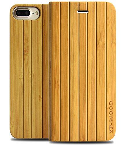 iPhone7 plus ケース 手帳型 竹製 と高強度ガラス保護フィルム 高級感たっぷり自然を感じる天然木製アイフォン7プラス カバー メンズ レディース ユニセックス (iPhone7plus, 竹)