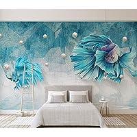Lixiaoer カスタム3Dダークブルー抽象ライングッピー魚ジュエリーテレビの背景壁紙アート壁画壁壁画デザイン用キッド-350X250Cm