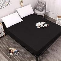 YWSCXMYLDL-JP 弾性ホワイト/ブラックマットレスカバー付きソリッドカラーマットレスカバー (Color : Black, Size : 180X200cmX30)