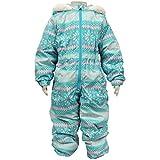 ガールズキッズスキーウェア[Blue Mart(ブルーマート)]女の子|女児|子供用ノルディック柄ジャンプスーツ|スノーコンビ雪遊び 100cm サックス