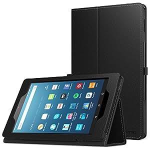NEW-Fire HD 8 ケース - ATiC Amazon Fire HD 8 Newモデル(2016/第六世代)用 全面保護型 薄型スタンドケース BLACK