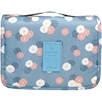 Multifunction Portable Waterproof Travel Kit Toiletry Travel Cosmetic Bag Hanging Hook For Men and Women Blue Flowers