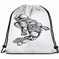 白バックの宇宙飛行士宇宙服アーツドローストリングバックパックスポーツジムバッグ女性用男性用子供ジッパー付き大きいサイズメッシュポケット14x17インチ