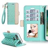 iPhone7 Plus ケース アイフォン7プラス ケース,WWW®[RFIDブロッキング] [透かし彫りの花 デザイン] 良質PUレザーケース 横開き 手帳型 カード入れ ストラップ付き 化粧鏡 スタンド機能 マグネット開閉 ミント
