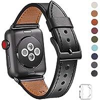 WFEAGL for Apple Watch バンド,は本革レザーを使い、iWatch Series 3、Series 、Series 1、Sport、Edition向けのバンド交換ストラップです(42mm ,黒 バンド+黒 四角い バックル)