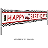 ( 2) - Lager Race Car Happy Birthday Banner, Red Racing Themed Party Supplies & Decoration Backdrop Background Photo Booth Props (3m x 0.5m)