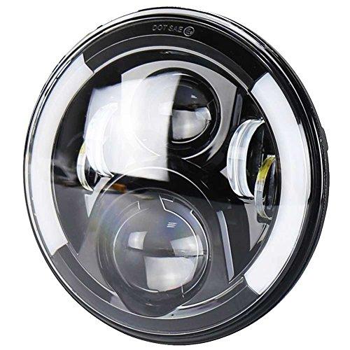 VOSICKY(ボスキー) 7インチ オートバイ 専用 ハーレー LED ヘッドライト イカリング付き Hi/Lo切替型 白/黄の変換ウインカー機能付き プロジェクター 送料無料 一年保証付き