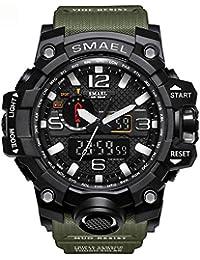 メンズ運動腕時計 メンズウォッチ SMAELスポーツ時計 おしゃれメンズ時計  防水腕時計 人気5色(アーミーグリーン)