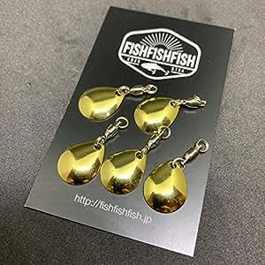 【FISHFISHFISH】コロラドブレード 5枚セット (Mサイズ, 金) メタリック カラー/ルアー改造 メタルジグ スピナー スピンテール用 ブレードチューン (M,金)