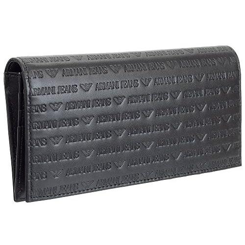 (アルマーニ ジーンズ)ARMANI JEANS メンズ 長財布 エンボスレザー 938543-CC999-00020 ブラック [並行輸入品]