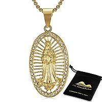 LIF 聖母マリアクリスチャンゴールドネックレス24Kゴールドメッキ奇跡的なメダルペンダントステンレススチールネックレス女性/男性用、クリスチャンベネディクト50.8 cmチェーン (聖母マリアのペンダント-C)
