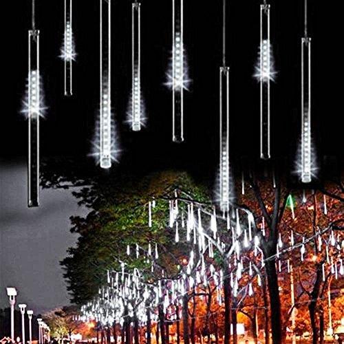 BIENNA LEDイルミネーションライト 流星雨型 LEDツララスティックライト 電源プラグ式 電飾 ツリー飾り LEDストリングライト 室外 庭 クリスマス 学園祭 祝日 結婚式 パーティ 20CM/本 8本セット 光が流れる 防水