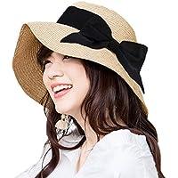 UVカット 麦わら帽子 レディース T-wilker リボン付き つば広 小顔効果 紫外線防止 レディース 蝶結び ストロー ハット 折りたたみ 携帯便利 アジャスター サイズ調整 日よけ 日常用 可愛い ペーパーハット