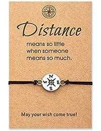 Tarsus Compass Long Distance Charm Bracelet Set Matching Graduation Friendship Birthday BFF Jewelry Best Friends Couple Women Men Teen Girls Girlfriend