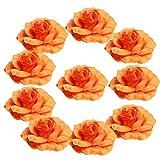 Fityle DIY手工芸品 人工シルク ローズ ヘッド 花飾り 結婚式フラワー パーティーアクセサリー 5cm10個入り 全11種選べ - オレンジ, 5cm