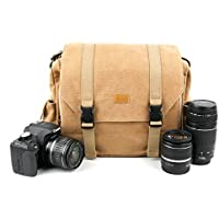 tan-brown Large SizedキャンバスCarry Bag with複数のポケット&カスタマイズ可能な内部のためのコンパートメントLomo Diana Mini–By DURAGADGET