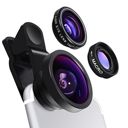 Yarrashop 3-in-1カメラレンズキット スマホレンズ 魚眼 10xマクロ 0.4倍超広角 クリップ式 iPhone iPad Androidなど対応自撮りレンズ ブラック