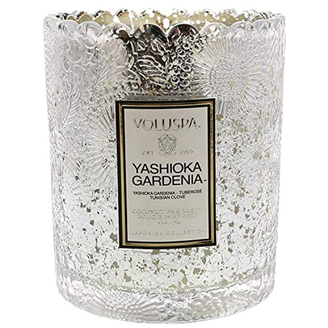 金属彼は神経Voluspa ボルスパ ジャポニカ リミテッド スカラップグラスキャンドル  ヤシオカガーデニア YASHIOKA GARDENIA JAPONICA Limited SCALLOPED EDGE Glass Candle
