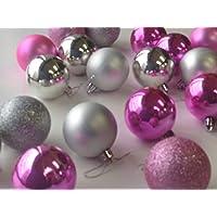クリスマス ツリー オーナメント ボール 【60㎜×24個入り】  【カラフル コンビ】 選べるカラー 8種類 【k239-246】 (シルバー×ピンク)