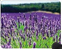フランスの風光明媚なフィールド香り高い咲く田舎農業農村テーマバイオレットグリーンマウスパッド楽しいゲーミングマウスパッド、滑り止めマウスパッド