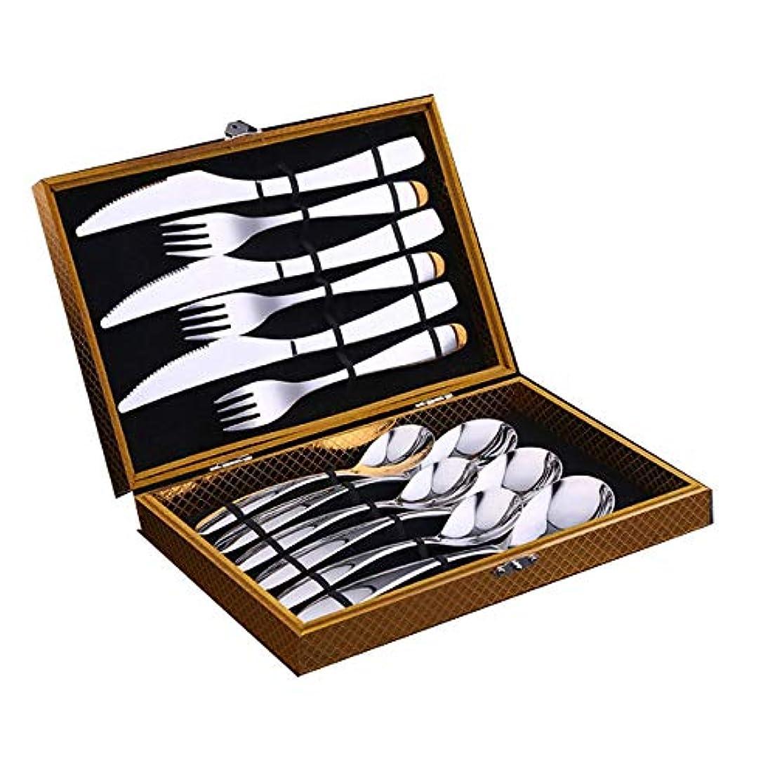 飼料交響曲フロー8HAOWENJU 304ステンレス鋼ステーキカトラリーセット、洋食のギフトボックス、ヨーロッパカトラリースプーン12/24セットギフト、高品質、最高の贈り物 高品質 - 最新スタイル (Color : B)