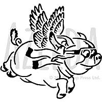 azeeda a5' Flying Pig '壁ステンシル/テンプレート( ws00014480)