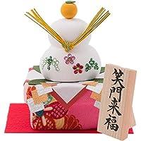 (ファンファン) FUN fun 正月飾り 迎春飾り 鏡餅 鏡もち 松竹梅 笑門来福 間口13*奥行11*高さ13(約cm) 日本製