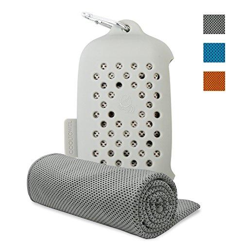 ASKARI クールタオル 速乾タオル 超吸水 軽量 スポーツタオル 熱中症対策 シリコン収納ケース付き 100×30cm 3色 (グレー)