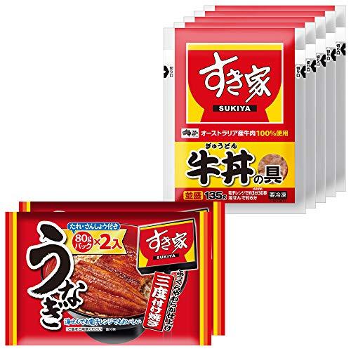 すき家 うな牛セット(うなぎ4パック入(80g×4 タレ山椒付き)、牛丼の具5パック) 冷凍食品