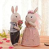人気の Metooブランド Metoo☆Tiramitu(ミートゥー☆ティラミス) 二人の ☆記念日に ウサギちゃん ぬいぐるみ ウェディングウェルカムバニー 人形 カップル ペア 大切な贈り物 プレゼント15インチ+ギフトボックス+立ちスタンド