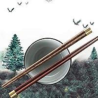 LKSPD 箸、家庭用高品位塗装のない、ワックスフリーの手羽先、自然の無垢材、カビ、家族、竹木のマホガニーの箸の10セット、 (Color : Brown, Size : A-10pairs)
